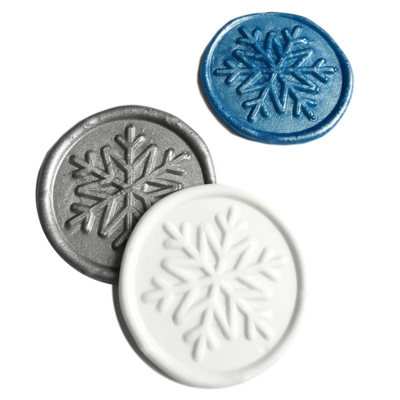 """""""Schneeflocke"""" in Weiss, Silber metallic und Ozeanblau metallic"""